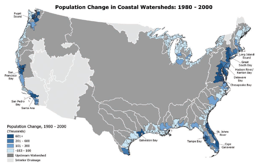 Map of population change in US coastal watersheds