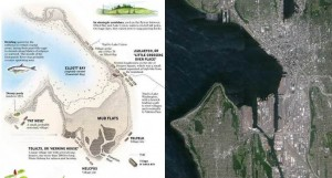 Map of Seattle circa 1851 next to satellite image of Seattle today